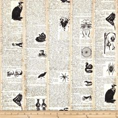 Chillingsworth Spooky Dictionary Cream from @fabricdotcom  Designed by Echo Park Paper Co. for Andover, this cotton print is perfect for quilting, apparel and home decor accents.  Colors include black, cream and tan.