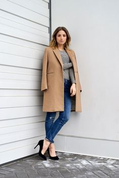 french style basics, striped top, distressed skinny jeans, camel coat, black pumps, ombre hair, fashion blog, the august diaries4