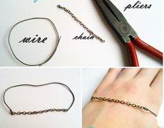 brazalete con alambre y cadena