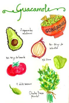 2 aguacates maduros, Unos 40-50 gr de cebolla aprox, 80-90 gr de tomate (nosotros le ponemos más), 1 chile serrano, 1/2 lima, Cilantro fresco picado, Sal. http://www.gastroandalusi.com/2013/07/guacamole-receta-mexicana.html