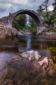 Old Packhorse Bridge in Carrbridge, Scotland.