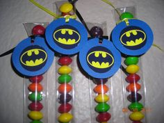 12 Batman Candy Treat Bags Favor Tags Toppers Personalized Superhero Blue or Yellow Birthday Gifts Party Friends Boys Teens. $12.00, via Etsy.