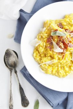 Roasted Pumpkin Risotto with Pancetta. Great fall dinner recipe