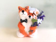Spring wedding cake topper spring wedding Fox summer wedding cake topper needle felted cute felting wool bride and groom Mr Mrs cute love