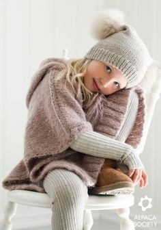 Layers of knits--love Knitted Poncho in a Nordic style by Scandinavian Designers Little Girl Fashion, Kids Fashion, Moda Junior, Knitted Poncho, Hooded Poncho, Baby Kind, Fashion Moda, Knitting For Kids, Stylish Kids