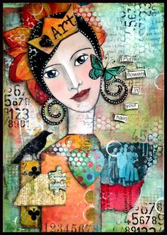 One of my favs--someone please try this on a purse!!!  Paulette Carr This is a collage done on a gelli print background. I painted the face over an image I cut from a magazine. The little lady circled in white is my mom.....many years ago )
