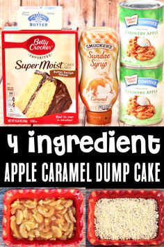 Caramel Apple Dump Cake Recipe with Pie Filling! This sweet Caramel Apple Dump Cake with ribbons of gooey caramel and a buttery crumble topping is one of the EASIEST desserts you'll ever make! Go grab the recipe and give it a try this week! Easy Summer Desserts, Healthy Desserts, Easy Desserts, Summer Recipes, Fall Recipes, Sweet Recipes, Delicious Desserts, Yummy Food, Dump Cakes