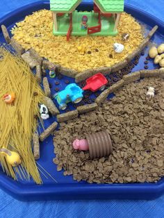 Farm animals in cereal tray- weetabix, cornflakes , spaghetti, bran
