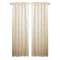 """Curtain with a leaf motif in beige.      Product: Set of 2 curtains      Construction Material: 100% Polyester Color: Beige     Features:Jacquard with floral patternRod pocket slides onto curtain rod for installation    Dimensions: 84"""" H x 38"""" W each   Cleaning and Care: Dry clean only"""