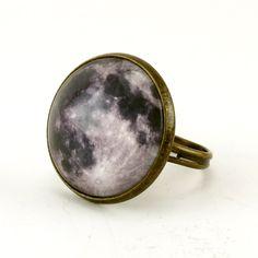 Full Moon Ring, Bronze Adjustable Ring, Handmade Art Jewelry. $10.55, via Etsy.