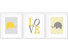 Printable Elephant Nursey Decor, Elephant Instant Download, Elephant Nursery Decor, Yellow Grey Nursery Wall Art, Elephant on Etsy, $10.00 AUD