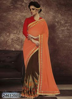 Beguiling Brown Coloured Georgette Embroidered Saree
