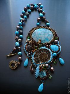 """Купить Комплект из бисера и натуральных камней """"Лесное озеро"""" - бирюзовый, комплект украшений, комплект из бисера"""