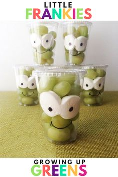 Little Frankie Halloween Snack Idea, Fun and Healthy Halloween Snack idea from lunchbox blogger and mom, Sarah of Growing Up Greens! Pinned over 100K times!
