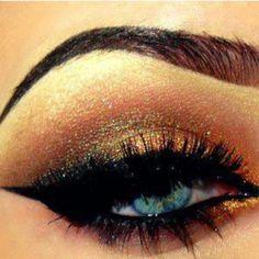 bronze & gold make up for blue eyes