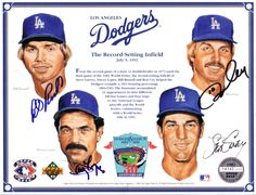 Dodgers Autographed 8x10 Card, Upper Deck (Record-Setting Infield: Bill Russell, Ron Cey, Davey Lopes, and Steve Garvey)