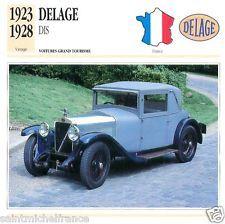 DELAGE DIS 1923 1928 CAR VOITURE FRANCE CARTE CARD FICHE