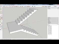 Como criar escadas com patamar intermédio no SketchUp (www.sketchup.ibercad.pt) - YouTube