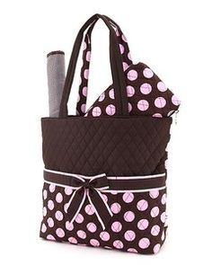 Personalized Diaper Bag For Girl or Boy - Quilted Polka Dot Diaper Bag Brown  and Pink should say Madison fa79dc818a