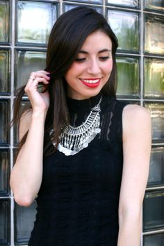 Adriana @Adriana Martínez Lucia looks lovely in this Charlotte Russe statement necklace! See more on her blog - Leopard Martini: Statement Necklace
