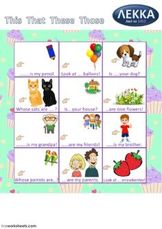 Demonstratives Language: English Level/group: Grade 3 School subject: English as a Second Language (ESL) Main content: Demonstratives Other contents: This, that, these, those English Language Learners, English Grammar, Demonstrative Pronouns, English Exercises, School Subjects, Grammar Worksheets, Second Language, English Lessons, Esl