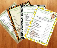 Jungle Baby Shower Games - Printable. $5.00, via Etsy.  More cute little jungle baby games