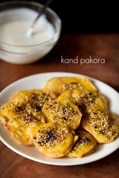 kand pakora recipe, how to make kand bhajiya | ratalu puri recipe