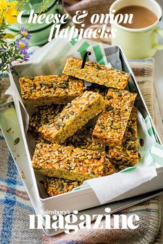 If you've never tried a savoury flapjack, this cheese and onion traybake will knock your socks off! # savoury Baking Cheese and onion flapjacks Savory Snacks, Savory Cakes, Healthy Snacks, Savory Muffins, Tray Bake Recipes, Veggie Recipes, Appetizer Recipes, Savoury Biscuits, Savoury Baking