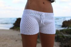 This listing is for the PDF pattern only, not for the finished product.  Crochet Shorts Pattern, lace crochet short, PDF Tutorial Pattern, white crochet Shorts Pattern. Now you can dream of a summer spent frolicking on the beach while you create these stylish crocheted shorts. The end result will be a beautiful pair of custom hand knit shorts that you can wear just about anywhere. With this reusable pattern, you can make a pair of shorts for every color of the rainbow. Before winter has…
