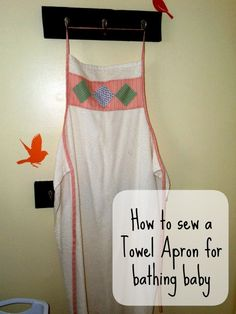 Make drying off a slippery wet baby easy with my pattern for Baby Towel Apron! Easy to sew. Sewing Projects For Kids, Sewing For Kids, Sewing Ideas, Craft Projects, Diy Baby Gifts, Baby Crafts, Baby Sewing, Sewing Aprons, Sewing Clothes