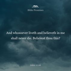 And whoever lives and believes in me will never die. Do you believe this?