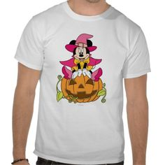 Official Disney Minnie Mouse Sitting on Jack-O-Lantern Tee Shirts, fashion for men, women, boys, girls, toddler. cute clothes, clothing for halloween.