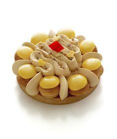 Saint-Honoré Bahia - Arnaud Lahrer - Pâte sablée, ganache mangue mandarine, biscuit noix de coco, chantilly caramel fleur de sel, chou à la crème mangue-mandarine ♥ Dessert