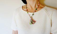Pink Green Tassel Necklace. Wool Yarn Bead by NariDesignPot