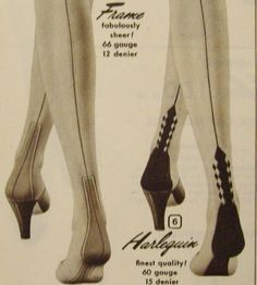 Eye-catching seamed stockings styles from Aldens Catalog, 1953. #vintage #1950s #stockings #hoisery
