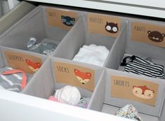 Printable Baby Animal Drawer Labels for Nursery With this purchase you'll receive 8.5 x 11 inch printable PDF INSTANT DOWNLOAD of the drawer labels. NO PHYSICAL PRODUCT WILL BE MAILED TO YOU. HOW IT WORKS: 1. Checkout + download the file 2. Print on your home printer or at a local copy/print shop 3. Cut along outside lines RECOMMENDATIONS: -Heavy card stock or cover stock is recommended for printing - They go great with our closet dividers. My husband begged me to make these so he wou...