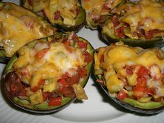 Spicy beef and peppers are combined with melted cheese and served in avocado shells for a simple, low carb snack or meal. Easy!!