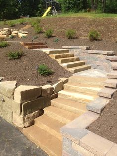 Sandstone Staircase with Boulder & Vesrsa-Lok Retaining wall