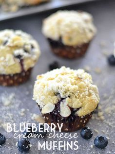 These delicious Blueberry Cream Cheese Muffins bake up perfectly light and moist, and are topped with an almond struesel.