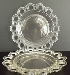 2 Depression Glass Anchor Hocking Old Colony Lace Clear Plates