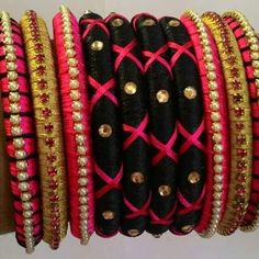 Multicolor Silk Thread Bangles Set Of 10 Wrapped Bangles with Pearl & Rhinestone
