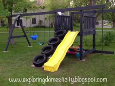 An old swing set can look completely new again with some reinforcement, a fresh coat of paint, and some unique touches like this DIY swing set tire ladder Tire Playground, Outdoor Playground, Outdoor Toys, Outdoor Fun, Playground Ideas, Reuse Old Tires, Diy Swing, Kids Play Area, Backyard For Kids