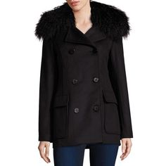 LAMARQUE Belinda Mongolian Lamb Fur Collar Peacoat (€455) ❤ liked on Polyvore featuring outerwear, coats, apparel & accessories, black, fur-lined coats, pea coat, peacoat coat, double-breasted coat and fur collar peacoat