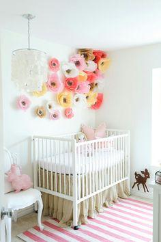 Baby crib n wall decor- crepe paper flowers