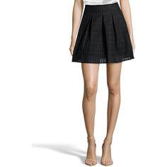 Vince Black Cotton Blend Mesh Box Pleated Mini Skirt (381680901) ($169) ❤ liked on Polyvore featuring skirts, mini skirts, black, short long skirts, vince skirt, mini skirt, long mesh skirt and box pleat skirt