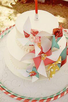 Pinwheel cake toppers! Kara's Party Ideas | Kids Birthday Party Themes: pinwheel party KarasPartyIdeas.com