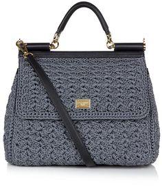 dolce crochet bag | Dolce & Gabbana Miss Sicily Classic Crochet Bag in Gray (gold) - Lyst