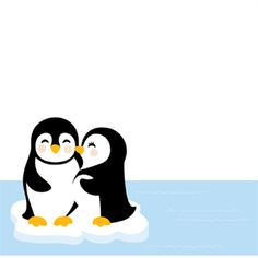 Adorable Penguin Couple Modern Holiday Cards