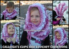 Calleigh's Clips & Crochet Creations: Candy Stripes Hooded Cowl - Free Pattern