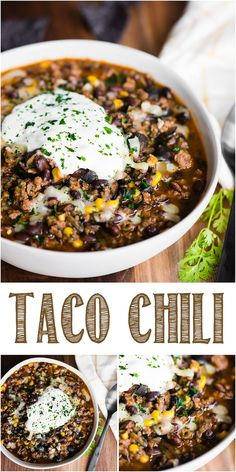 Taco Chili with ground beef and tasty seasoning mixes is the best easy recipe you can make in your crockpot, on the stovetop, or in the Instant Pot. Chowder Recipes, Chili Recipes, Slow Cooker Recipes, Mexican Food Recipes, Crockpot Recipes, Soup Recipes, Cooking Recipes, Fun Easy Recipes, Easy Meals